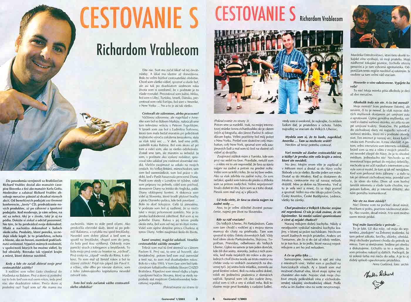 Cestovateľ, január 2003: Cestovanie s Richardom Vrablecom